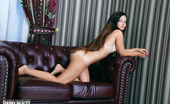 Showy Beauty Katy Lovely Katy Amazingbrunette The Perfect Combination, Artistic Nude Photo Model And Robust Sofa Upholstered In Warm Leather. Both Piece Of Art.
