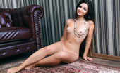 Showy Beauty Katy Lovely Katy Amazingbrunette 273233 The Perfect Combination, Artistic Nude Photo Model And Robust Sofa Upholstered In Warm Leather. Both Piece Of Art.