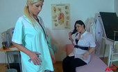 Leony Aprill Two Cute Blonde Nurses Rubbing Their Very Moist Snatches