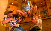 Leony Aprill Very Horny Cowboy Shagging Two Perfect Cowgirls Hardcore