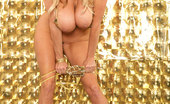 Kelly Madison Goldfinger Kelly Does A Photo Shoot In A Gold Butterfly Outfit And Fingers Herself.