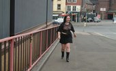 UK Flashers Brunette Shows Her Big Tits In A Main Street