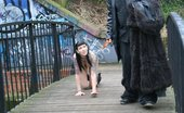 UK Flashers Hot Gothic Slut Treated As A Dog In A Public Bridge