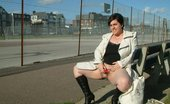 UK Flashers Chubby Girl Masturbating With A Bibrator In A Public Road