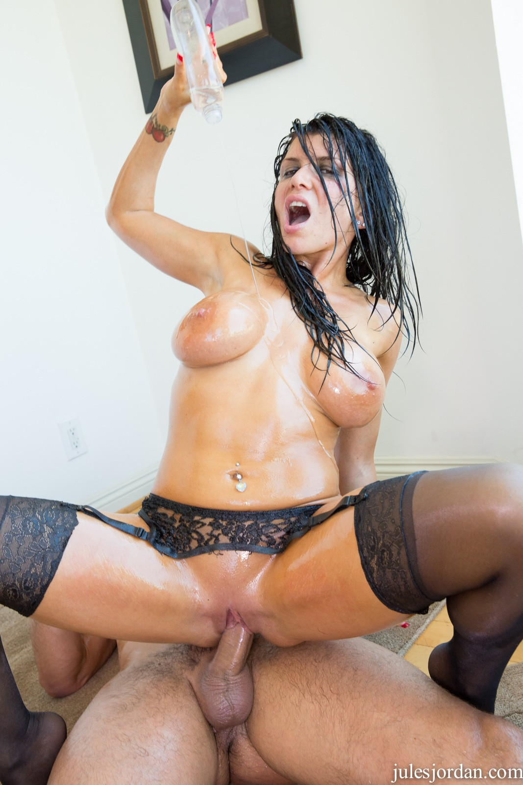 Oiled up romi rain gets slammed 6