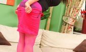 Only All Sites Jenna Hoskins Busty Brunette Secretary In A Tight Black Top And Pink Skirt With Matching Pantyhose