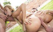 Harmony Vision Deniska Teen Threesome Kinky Blonde Gets Into A Hot Threesome In The Yard