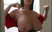 Rachel Aldana Rachel Red Cross Dress Candids Sexy Rachel Pose With Her Huge Titties Popping Out