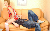 Boys Love Matures Margaret & Adam Hot-To-Trot Lad Doing Fucking Exercises With Mature Chick Right On The Sofa