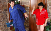 Boys Love Matures Victoria & Adam Lascivious Mature Fatty Lures A Worker Giving Blowjob And Opening Her Box
