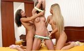 Sapphic Erotica Darci, Yvette And Karolina Sexy Teens Explore Joys Of Twoway Dildo In Hot Threesome