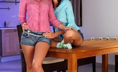 Sapphic Erotica Daphne And Jo18 Sultry Teens Strip And Lovingly Lick Shaved Pussies On Bed