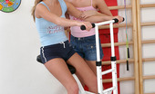 Sapphic Erotica Tamara And Katerina18 Enticing Blonde Duo Tongue And Dildo Wet Pink Twats In Gym