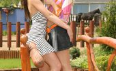 Sapphic Erotica Sophie And Electra7 Gorgeous Vixens Strip Kiss And Tongue Tasty Twats In Garden