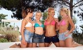 Sapphic Erotica Alana Britta Katy And Deniska3 Four Luscious Honeys Strip And Toy Pussies In Garden Orgy
