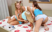 Sapphic Erotica Adelisa Tilly And Traci3 Playful Teen Trio Licks And Fingers Shaved Pussies In Bed