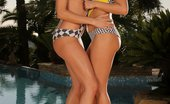 Sapphic Erotica Lulu And Brooke0 Dazzling Brunettes Strip And Lap Pussies And Butts Poolside