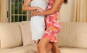 Sapphic Erotica Klara And Zoe1 Enticing Lesbians Lick Dildo And Trib Moist Pussies On Couch