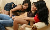 Sapphic Erotica Ayane Melissa And Riva9 Dark Haired Hotties Kiss And Finger Bald Twats In Threesome