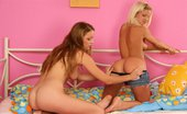 Sapphic Erotica Beatrix And Katika0 Tempting Teens Strip Lick And Dildo Fresh Pussies In Bed