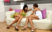 Sapphic Erotica Klara And Carie3 Bewitching Beauties Lick And Finger Smooth Pussies On Couch