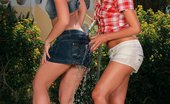 Sapphic Erotica Morgan And Lena Sizzling Teens Get Wet And Lick Pussies And Butts In Garden