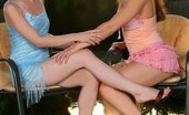 Sapphic Erotica Stunning beauties lap and rub twats outside Mya And Leila1 Outdoor Affair