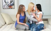 Sapphic Erotica Three adorable teens trib and dildo in bed Angellina Malia And Nadija0 Tribbing Trio