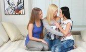 Sapphic Erotica Three adorable teens trib and dildo in bed Angellina Malia And Nadija0 Tribbing Trio
