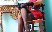 Lily Wow Hot Leggy MILF In Classy Black Vintage Stockings And Underwear