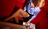 Lily Wow Busness Lady In Nude Nylons Strips At Home After Work