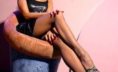 Lily Wow Long Sexy MILF Legs In Vintage Grey Stockings And High Heels