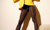 Lily Wow Beautiful Long MILF Legs In Black Shining Pantyhose