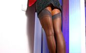 Lily Wow Leggy Business Lady In Vintage Grey Stockings And Red High Heeled Shoes