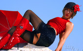 Lily Wow Fiery Milf Lily In Black Stockings And Red Boots
