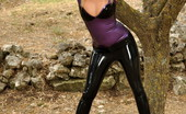 Latex Heaven Penny L Purple Top Black Capri