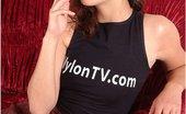 Nylon TV Smoking Busty Teen Babe In Black Stockings