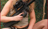 Pantyhose Angel Celina As Military Girl In Shiny Pantyhose And Boots