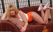 Pantyhose Angel Sexy Blonde Hooters Girl In Shiny Suntan Pantyhose