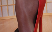 Pantyhose Angel 7 Inches Heels And Shiny Black Pantyhose