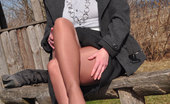 Pantyhose Angel Angel In Boots And Shiny Pantyhose Outside