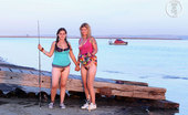 Girls Out West Luz & Jazmine Gone Fishing What If You Get Bored When The Fish Don'T Bit? What Are You Gonna Do. Just You And Her On The End Of A Short Pier Without Panties. Fannies Blowing In The Wind!