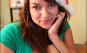 Pinup Files Monica Mendez Monica Mendez Office Christmas Set 1 Hey Guys! I Thought I Would Bring You A Very Special Christmas Treat, So I Did A Sexy Little Shoot In The Office Featuring A Simple Yet Very Sexy Green T-Shirt Top With A Very Low-Plunging Neckline, Along With A Santa