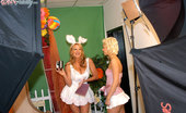 Porn Fidelity Kelly And Christine Take Turns Hopping Up And Down On The Easter Bunnies Cock.