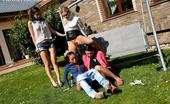 Fully Clothed Pissing Lesbians Peeing Four Hot Young Lesbians Hang Out Outdoors And Have Pee Sex
