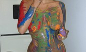 TAC Amateurs Finger Paint 314114 Heres A Cheeky Set Where I Turn Myself Into A Multi-Coloured Rainbow. Just Enough Paint To Smother All Over My Ample Tit