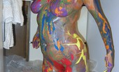 TAC Amateurs Finger Paint Heres A Cheeky Set Where I Turn Myself Into A Multi-Coloured Rainbow. Just Enough Paint To Smother All Over My Ample Tit