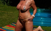 TAC Amateurs Oil & Micro Kini Hot By The Paddling Pool, I Dowse Myself In Baby Oil For That Truly Slippery Look - Melody X