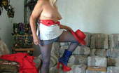 TAC Amateurs Red White And Blue Hooray For The Red, White And Blue. In This Case Some Very Sexy Blue Pantyhose And A Short-Short Mini For You Leg Lover
