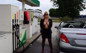 TAC Amateurs Sexy At The Petrol Station Whenever I'M Travelling, I Do Not Wear Panties. If I Bend At The Petrol Station, Everyone Can See My Pussy.